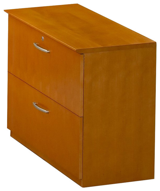 Mayline Napoli 2 Drawer Lateral Wood File Cabinet in Golden Cherry - Transitional - Filing ...