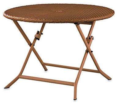 Resin Wicker Round Folding Table contemporary-dining-tables