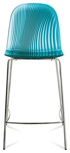Playa sgb stool transparent blue modern bar stools and counter stools by inmod - Teal blue bar stools ...