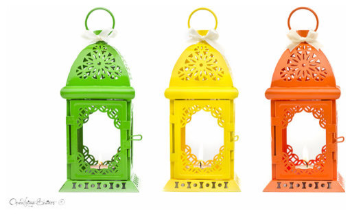 Fiesta Party Candle Lantern Centerpiece by Open Vintage Shutters contemporary-candles-and-candle-holders