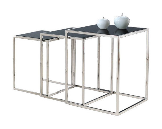 "Armen Living - Quadra Nesting Tables In Stainless Steel With Glass Tops - Each time you place your glass of ice tea down on one of these stackable square nesting tables you will be reminded of its striking yet modern elegance that can accompany a wide variety of d cor. Made of stainless steel and tempered glass.  Big table: 17.75""W x 17.75""D x 21.5""H, Small: 16.25""W x 16.25""D x 19.5""H, xSmall: 14.5""W x 14.5""D x 17.5""H"
