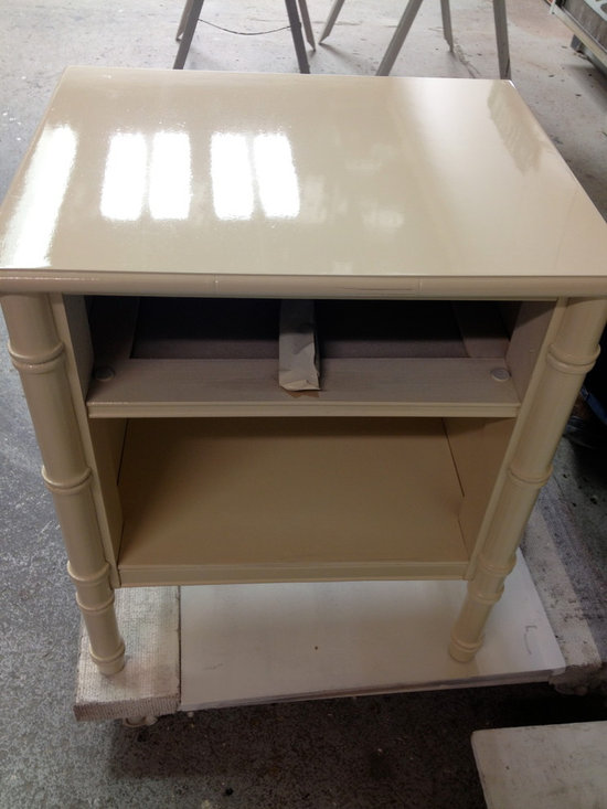 Furniture Before & After - refinished nightstand - high gloss painted finish