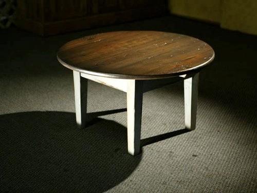 Round Coffee Table Antique Walnut Finish farmhouse-coffee-tables