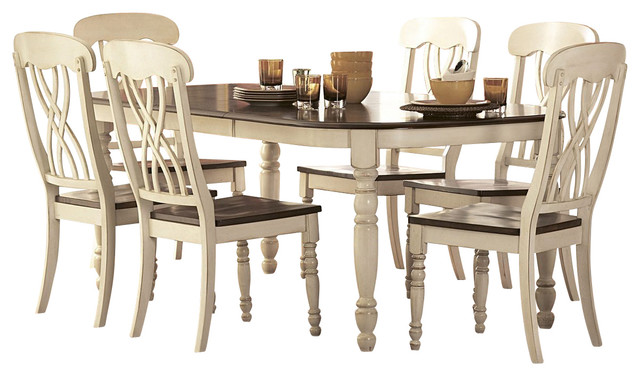Rectangular Dining Room Set In White Cherry Traditional Dining Sets