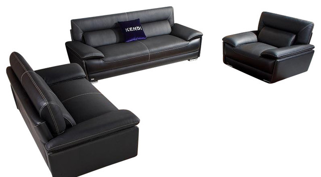 K8432 black top grain italian leather three piece sofa set for 3 piece black modern sectional sofa