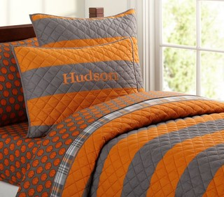 Rugby Stripe Quilt Contemporary Kids Bedding By