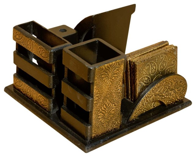 Golden Wood Brass Desk Top Organizer With Coasters