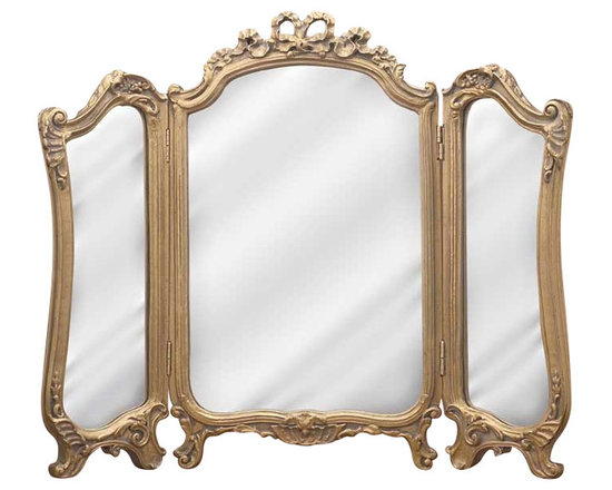 Hickory Manor House - Tri-Fold Vanity Mirror in Antique Gold Finish - Vintage original. Custom made by artisans unfortunately no returns allowed. Enhance your decor with this graceful mirror. Made in the USA. Made of pecan shell resin. 31.5 in. W x 26.75 in. H (19 lbs.)