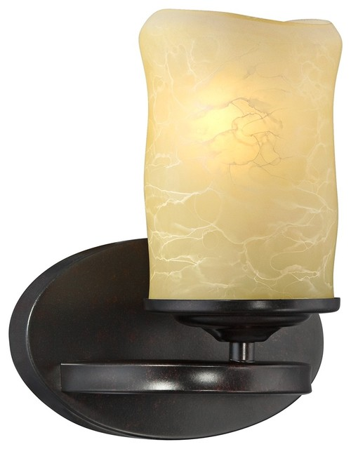 Fake Candle Wall Lights : Arts and Crafts - Mission Faux Candle with Bronze Finish 8 3/4