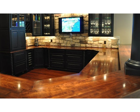 Hard Maple Wood Bar with Chicago Bar Rail. Designed by Karen A. Trinchere of A D -