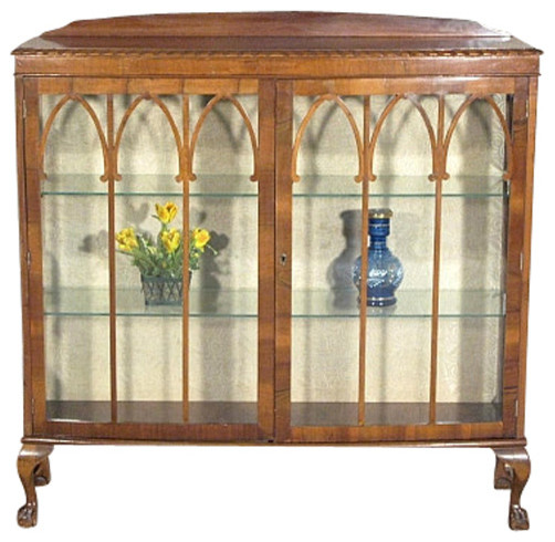 Antique English Mahogany Chippendale Curio Display Showcase Cabinet - Traditional - Furniture ...