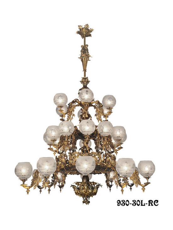Victorian Chandeliers - You've never seen anything like it!  This large 30-Light chandelier is our newest neo-rococo creation from the Mid-Victorian gasolier era.  Our inspiration was taken from our antique Starr-Fellow's catalog and our vault-preserved samples from 1857.  We believe we have engineered a truly fine lighting fixture, based on historical record, ready to grace the lobby or dining room of an upscale mansion or five star hotel.