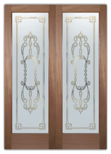 interior glass doors obscure frosted glass faux bevels