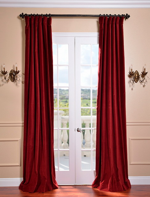 Claret Red Vintage Cotton Velvet Curtain Traditional