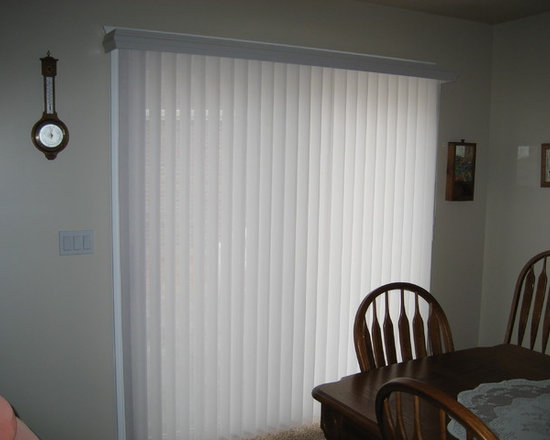 Client Projects - Hunter Douglas Luminettes are a great solution for sliding glass doors. This client in Salt Lake City, Utah loves how she can tilt the vanes to control her privacy and light.