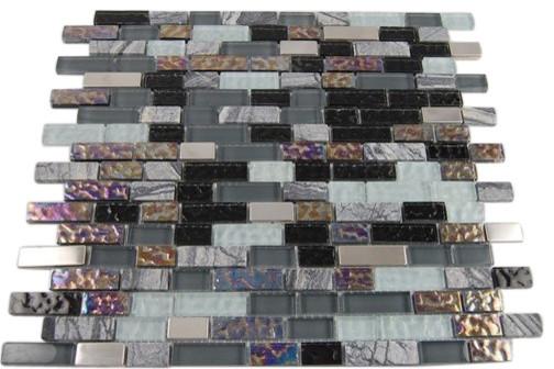 Nimbus Gray Blend Bricks Marble & Glass Tile contemporary-tile