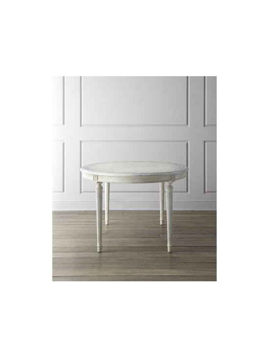 """Florence de Dampierre - Florence de Dampierre """"Yvette"""" Dining Table - Dining is an art, and dinner becomes a magical affair with this oval dining table adorned with sophisticated pale gray decoration. From the Florence de Dampierre Collection for John-Richard. Handcrafted of acacia wood. Hand-painted rubbed-white finis..."""