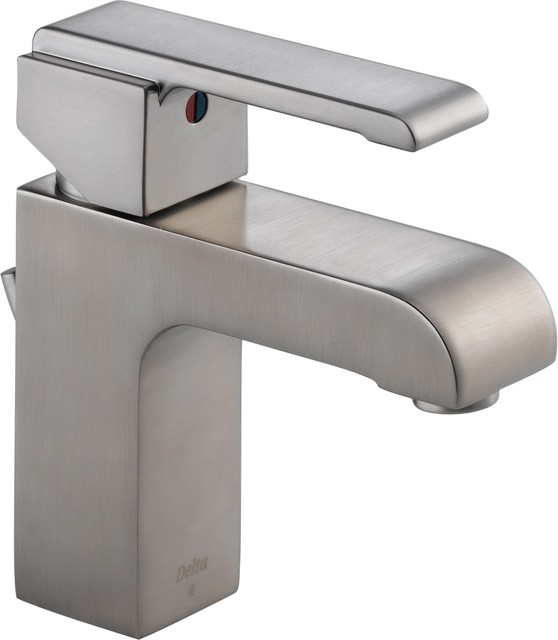 Delta 586LF-SSMPU Arzo Single Handle Bathroom Faucet in Stainless contemporary-bathroom-faucets-and-showerheads