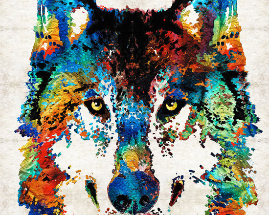 Animals, Fish and Birds - Wolf Art Print - Hungry - By Sharon Cummings