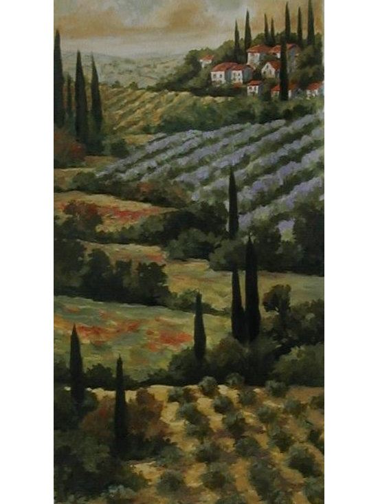 Tuscany 1 - One Coast Design - This old world painting of a beloved Italian countryside scene is one of two images available. Michelle Woolley loves to paint from photography. She accepts commissions on the occasion that you have a photograph or a picture of a scene you would like to have painted in lieu of the image presented.