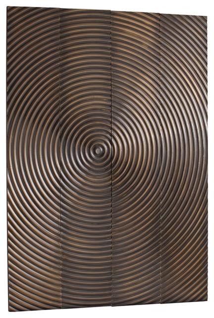Epicenter Vintage Brass Metal Clad Global Wall Plaques - Set of four transitional-artwork