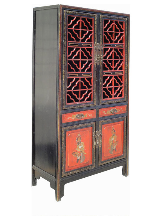 Chinese Antique Red Gold Opera Painting Kitchen Storage Cabinet - This is a Chinese antique kitchen cabinet which is made of solid elm wood. Originally, it was used as storing dishes, chopsticks, and bowls long time ago in China. Right now, it can be used as storage cabinet to decorate your living room, bedroom and dinning room.