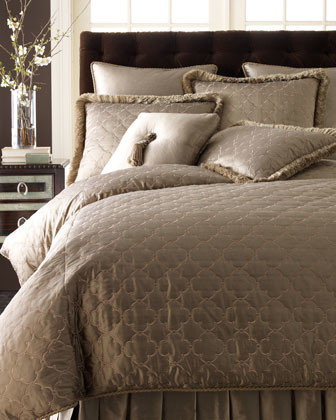 Dian Austin Couture Home Standard Quilted Sham with Fringe traditional-pillowcases-and-shams