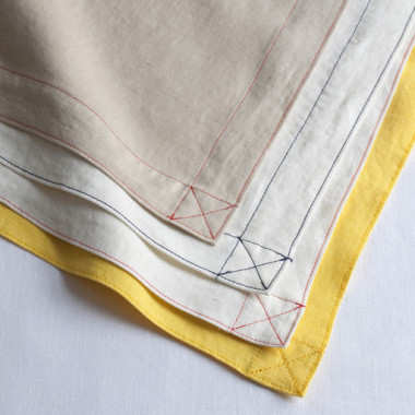 Washed Linen Napkin with Yellow Top Stitching - traditional ...