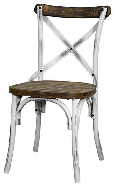 Natalie Metal Chair Distressed White Modern Dining Chairs By New Pacific Direct Inc