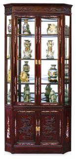 Rosewood Dragon Motif Corner Curio Cabinet - Asian - Furniture - by ...