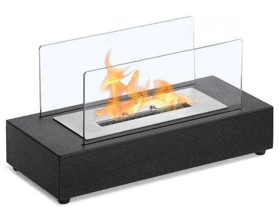 Moda Flame - Rubi Table Top Ethanol Fireplace - The Rubi table top modern ethanol fireplace is small and compact with it's diminutive stature, yet is not to be undermined as it makes a strong statement. The Rubi has a steel powder coated base and two tempered glass sheets to confine the dancing flame.