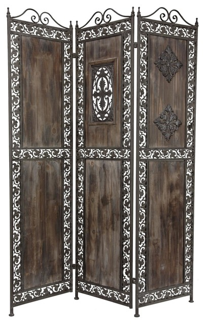 6 Ft Tall Solid Frame Fabric Room Divider 4 Panels: 5 3/4 Ft. Tall Antiqued Patina Room Divider Eclectic