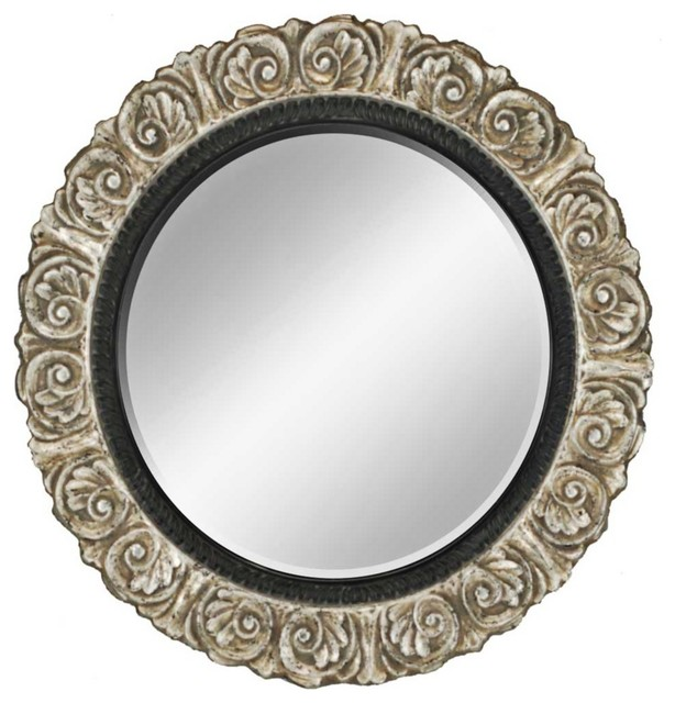 Decorative Wall Mirror Lamps Plus : Country cottage ornate silver quot round wall mirror