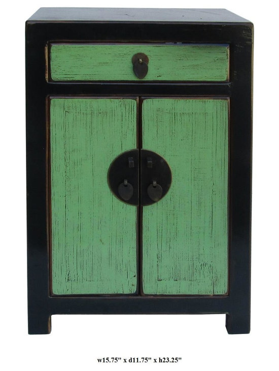 Rustic Green & Black Solid Wood Night Stand / End Table / Small Cabinet - This small night stand is made of solid elm wood and has elegant green & black color. It can also be a unique end table or plant stand.