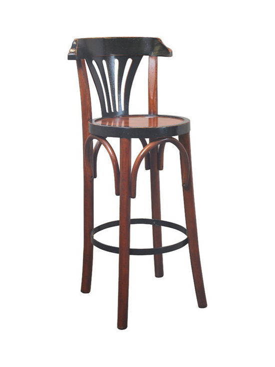 "Inviting Home - de Luxe Black Barstool, Honey - The design of our tall brasserie accessory goes back to the late 19th C. when bentwood furniture was developed in Vienna and exported across Europe and the rest of the world; 15""dia. x 40""H The design of our tall brasserie accessory goes back to the late 19th century when bentwood furniture was developed in Vienna and exported across Europe and the rest of the world. Timeless in style and sturdy in construction many have survived ages. And this hand-made barstool will follow the same tradition when handled with love and care."
