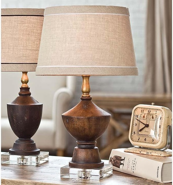 andrew wood tone and crystal mini table lamp traditional table lamps. Black Bedroom Furniture Sets. Home Design Ideas