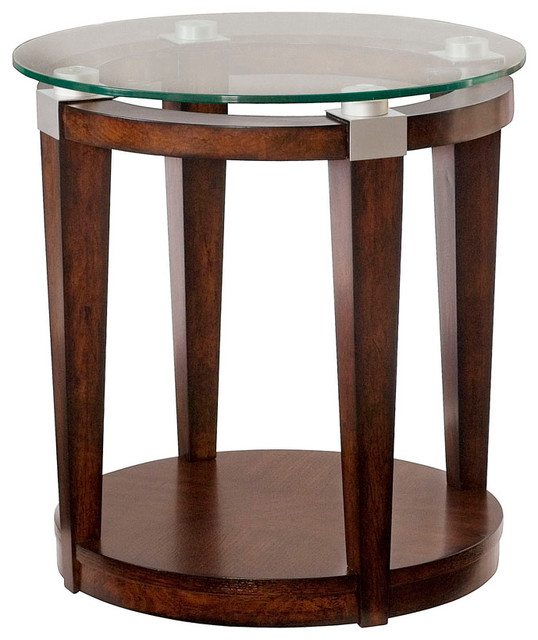 Umbria Foyer Table : Hammary solitaire round accent table in rich dark brown
