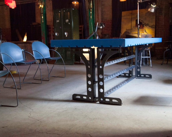 "The Titus Table - The Titus Table. Construction:  Commercial black steel, (96""x 36""). The Titus Table was one of my earlier works inspired by my heritage, the aesthetics of ancient Rome and my love of vintage art and furniture. Its lines capture strength and elegance."