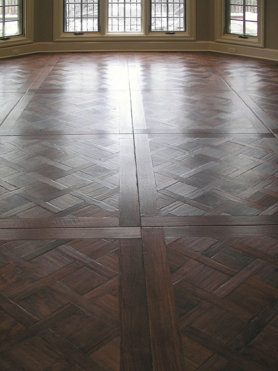 Private Residences - Custom Design Versailles Parquet flooring pattern in Northern American Steamed Walnut, Hand scraped, hand beveled, dyed, stained and finished with Hardwax Oil