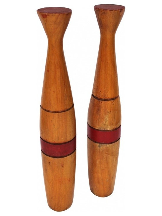 Medicine Clubs - Unusual Art Deco style flat-top pair of medicine clubs with red bands and grooves carved around each club.