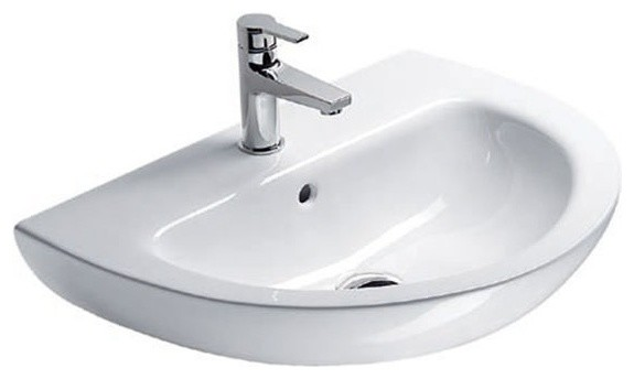 Wall Mount Sink No Faucet Hole : Luxury Wall Mounted Ceramic Bathroom Sink, No Faucet Holes ...