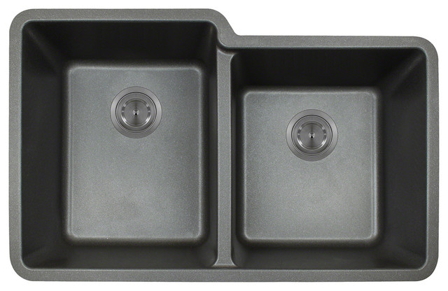 MR Direct 801 Trugranite Double Offset Bowl, Black modern-kitchen-sinks