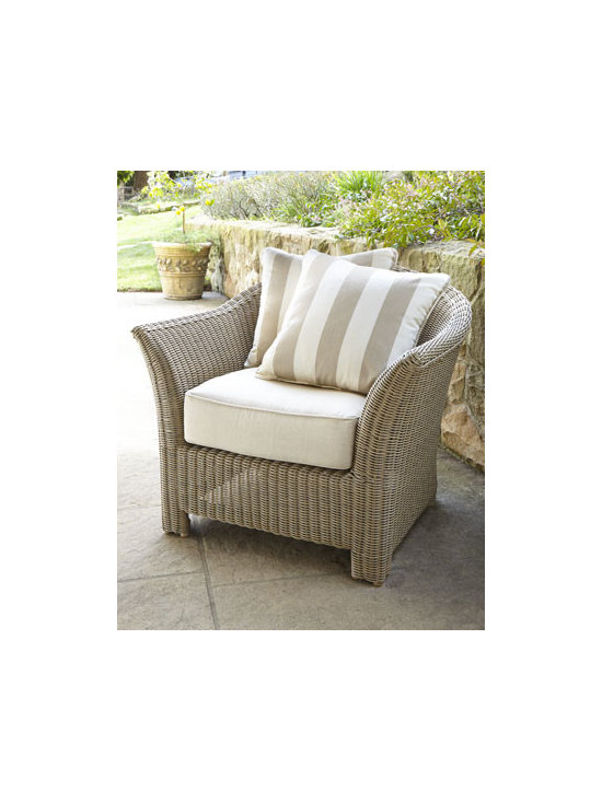 Horchow - Calais Outdoor Club Chair - Unique modular wicker furniture with great dimension and texture brings classic transitional styling to outdoor living spaces. Made of all-weather resin wicker handwoven over aluminum frames with power-coat finish. Cushions made of Sunbrella® fab...