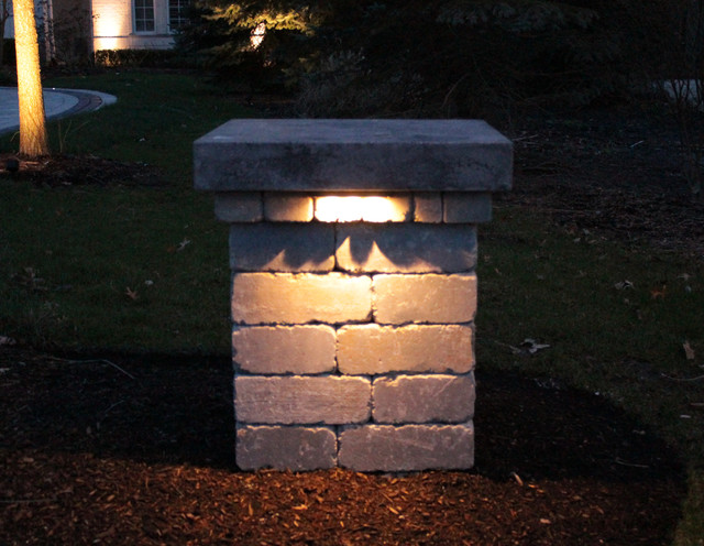 Paver driveway with leds contemporary chicago by for Driveway landscape lighting