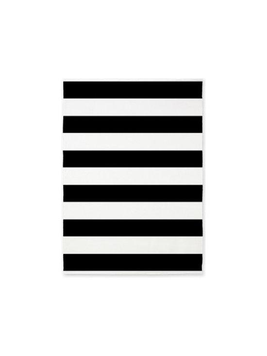 Black and White Bold Stripes Area Rug -