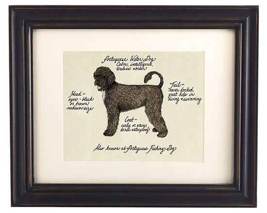 Ballard Designs - Portuguese Water Dog Brown Dog Print - Printed on antiqued parchment. Eggshell mat. Black wood frame. Glass front. Our Brown Portuguese Water Dog Print was created by the dog-devoted, husband and wife team of Vivienne and Sponge. The Portuguese Water Dog is known for being calm, intelligent and a tireless worker. Each portrait is signed by the artists, hand colored and embellished with notes on the breed's special characteristics. Brown Portuguese Water Dog Print features:. . . . *Please note that personalized items are non-returnable.