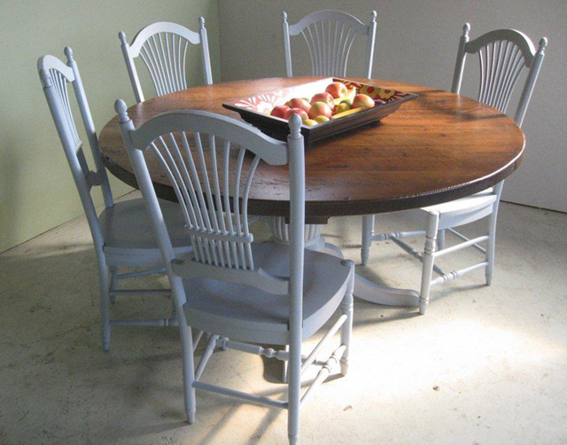 Reclaimed Wood Round Dining Table Farmhouse Dining Tables boston by L
