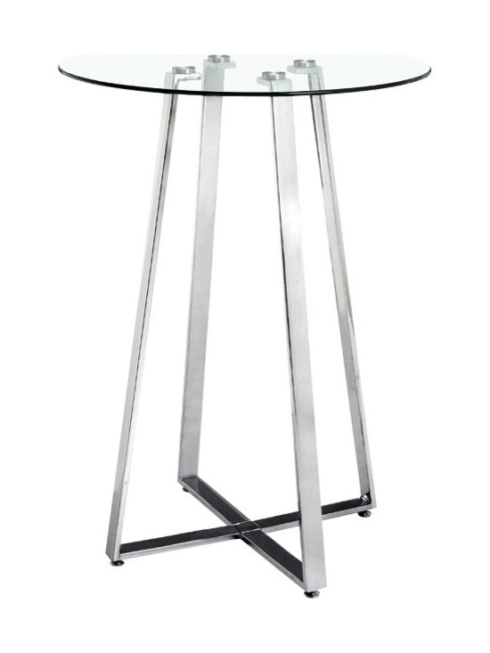 "Zuo - Lemon Drop Bar Table - The Lemon Drop Collection bar table boasts a sturdy four-leg base with an airy and open design. It's made of a stylish and durable chrome-plated solid steel tube frame with a clear tempered glass tabletop that enhances its modern look. Chrome-plated solid steel. Clear tempered glass tabletop. 43"" high. 31 1/2"" diameter.  Chrome-plated solid steel.  Clear tempered glass tabletop.  Some assembly required.  43"" high.  31 1/2"" diameter."