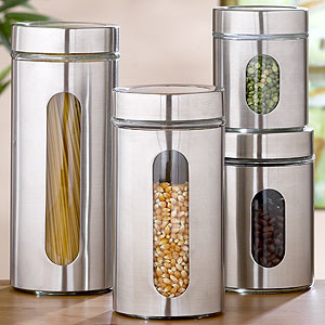 Round Glass Storage Jars, Sets of 2 - Storage Containers modern-kitchen-canisters-and-jars