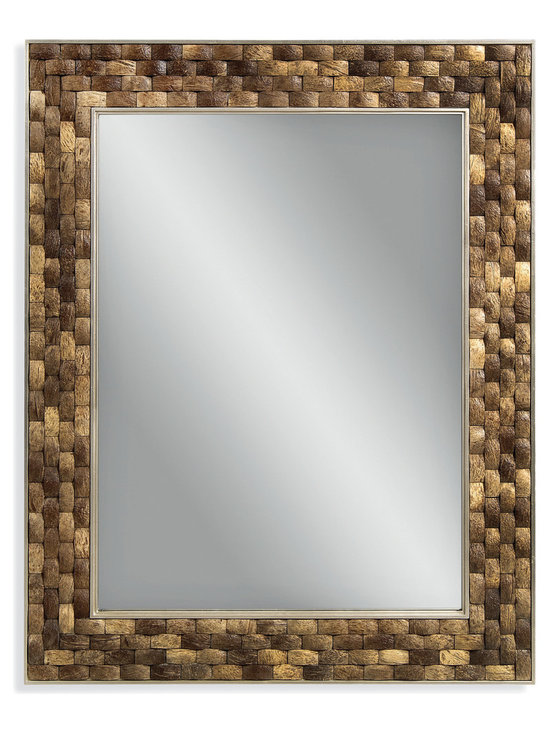 Bassett Mirror - Bassett Mirror Taca Wall Mirror - This rectangular mirror features rich, brown coco shells pieced together in a weave pattern. The organic texture is perfect for your beach-side getaway — or imagining you're relaxing in one.